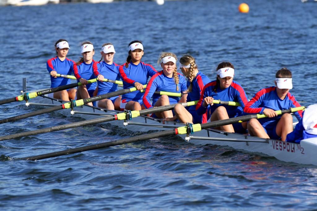 The girls first varsity 8. Photo by Chris Briglin.